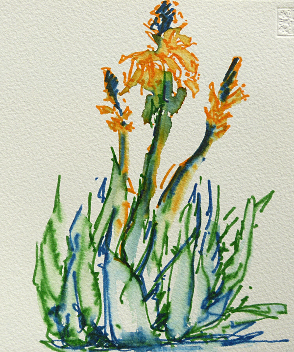 Test aquarelmarkers, afbeelding plant